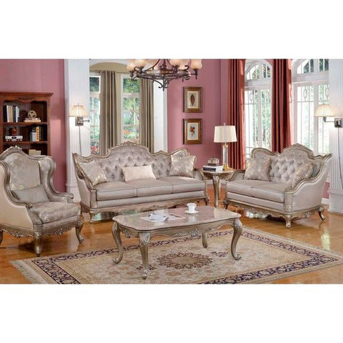 Homelegance Fiorella Three Piece Sofa Set In Dusky Taupe