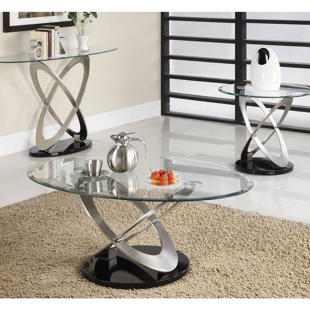 Homelegance Firth 3 Piece Coffee Table Set In Chrome Black Metal