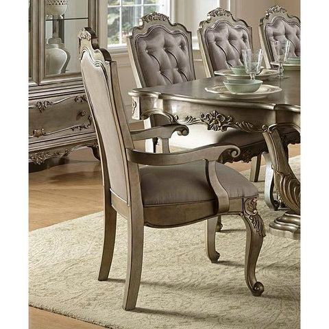 Homelegance Florentina Arm Chair, Faux Silk In Taupe Color Faux Silk Rich Silver - With Gold Undertone