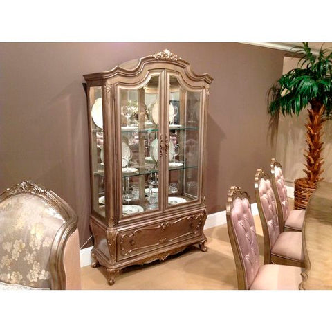 Homelegance Florentina China & Buffet In Taupe Color Faux Silk Rich Silver - With Gold Undertone