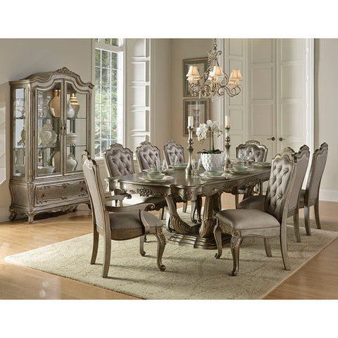 Homelegance Florentina Dining Table In Taupe Color Faux Silk Rich Silver - With Gold Undertone