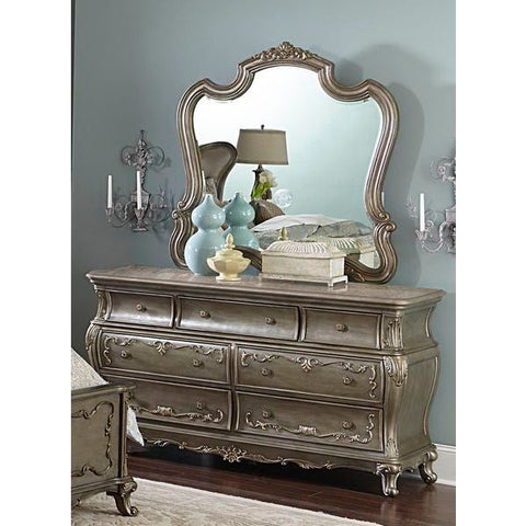 Homelegance Florentina Dresser With Marble Top In Silver