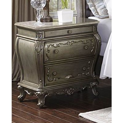 Homelegance Florentina Night Stand With Marble Top In Silver