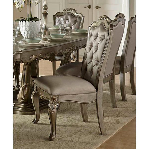 Homelegance Florentina Side Chair In Taupe Faux Silk Rich Silver With Gold Undertone