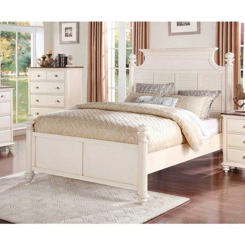 Homelegance Floresville Bed In Antique White / Dark Cherry Top