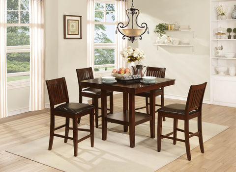 Homelegance Galena 5 Piece Counter Height Set in Warm Cherry