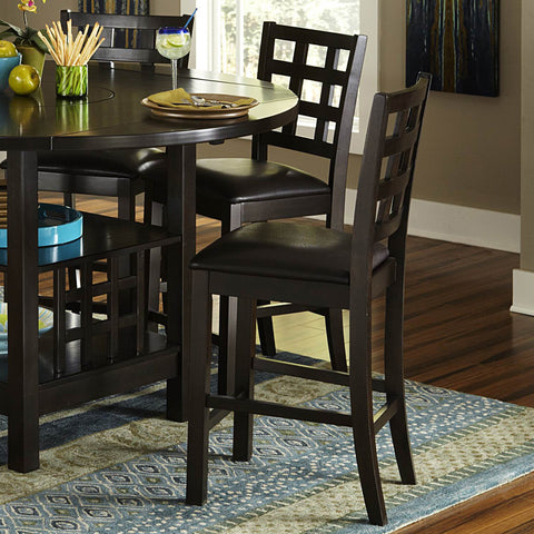 Homelegance Glendine Counter Height Chair w/ Dark Brown Bi-Cast Vinyl Seat in Dark Espresso