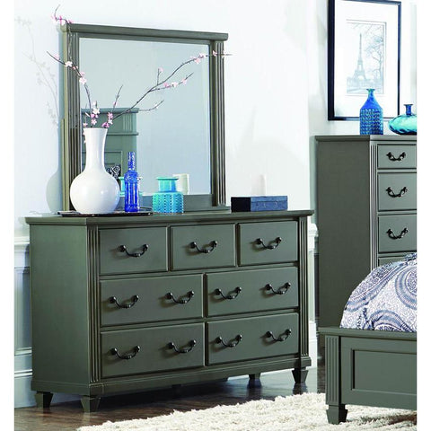 Homelegance Granbury 7 Drawer Dresser & Mirror in Casual Grey Rub-Through