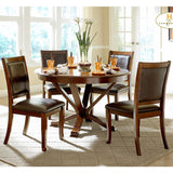 Homelegance Helena 5 Piece Round Dining Room Set in Cherry