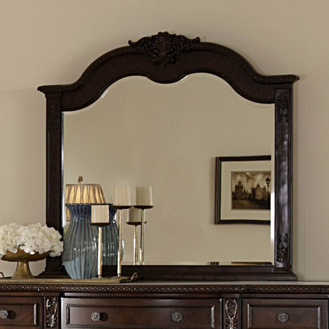 Homelegance Hillcrest Manor Arched Mirror in Rich Cherry