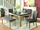 Homelegance Huron 7 Piece Dining Room Set w/Faux Marble Top in Light Oak