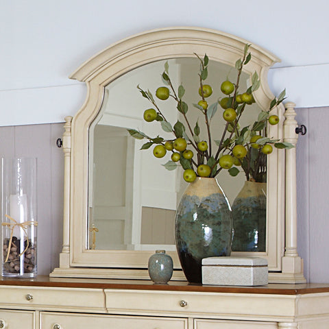 Homelegance Inglewood II Swivel Arched Mirror in Antique White