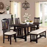 Homelegance Irrington Trestle Dining Table in Black Driftwood