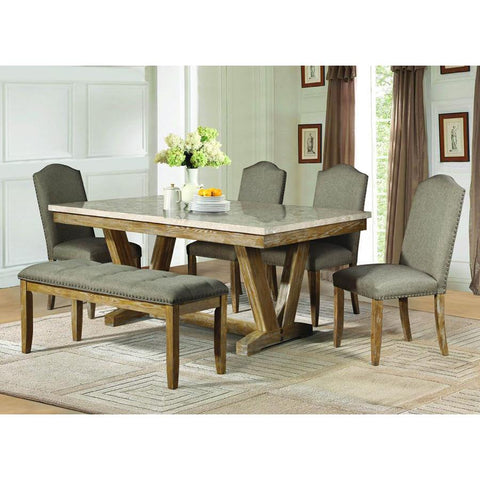 Homelegance Jemez 6 Piece Faux Marble Top Dining Room Set in Weathered