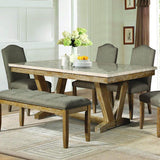 Homelegance Jemez Rectangular Faux Marble Top Dining Table in Weathered
