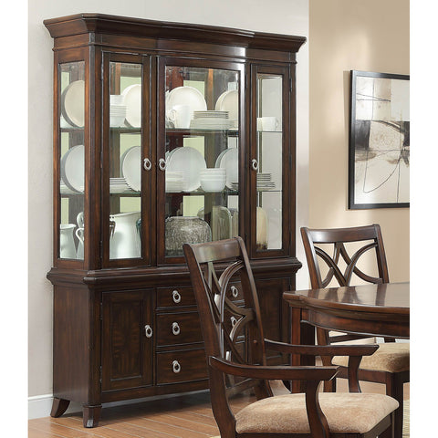 Homelegance Keegan Buffet w/ Hutch in Brown Cherry