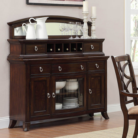 Homelegance Keegan Server w/ Mirror in Brown Cherry