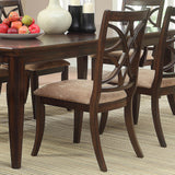 Homelegance Keegan Side Chair w/ Beige Fabric Seat in Brown Cherry