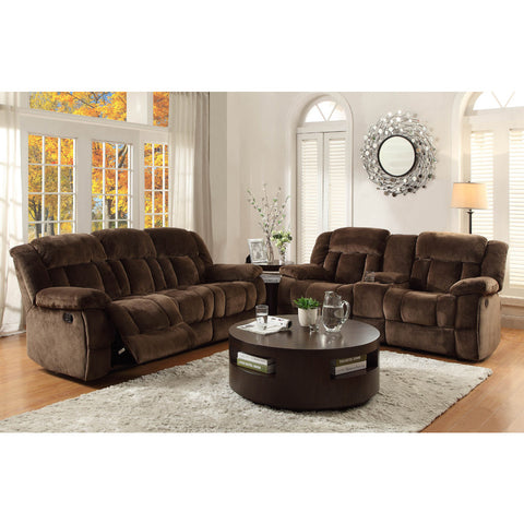 Homelegance Laurelton 2 Piece Living Room Set in Chocolate Microfiber