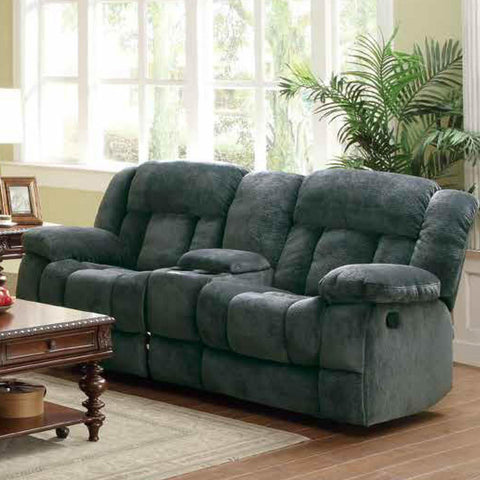 Homelegance Laurelton Doble Glider Reclining Loveseat w/ Center Console in Charcoal Microfiber
