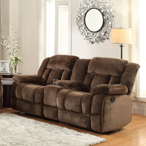 Homelegance Laurelton Doble Glider Reclining Loveseat w/ Center Console in Chocolate Microfiber
