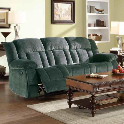 Homelegance Laurelton Double Reclining Sofa in Charcoal Microfiber