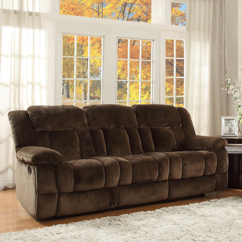 Homelegance Laurelton Double Reclining Sofa in Chocolate Microfiber