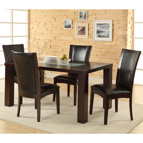 Homelegance Lee 5 Piece Dining Room Set w/ Crackle Glass Insert in Espresso