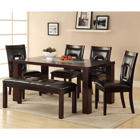 Homelegance Lee 6 Piece Dining Room Set w/ Crackle Glass Insert in Espresso