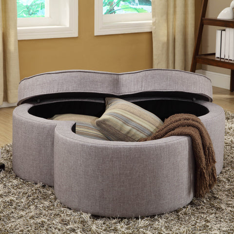 Homelegance Limerick Storage Ottoman w/ Casters in Grey Linen