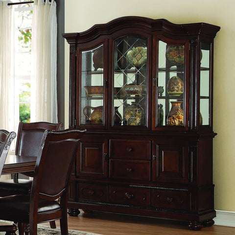 Homelegance Lordsburg 5 Drawer Buffet & Hutch in Dark Brown