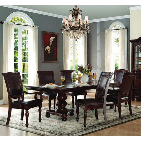 Homelegance Lordsburg 7 Piece Double Pedestal Dining Room Set in Dark Brown
