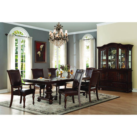 Homelegance Lordsburg 8 Piece Double Pedestal Dining Room Set in Dark Brown
