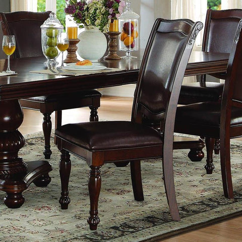 Homelegance Lordsburg Side Chair in Dark Brown Faux Leather