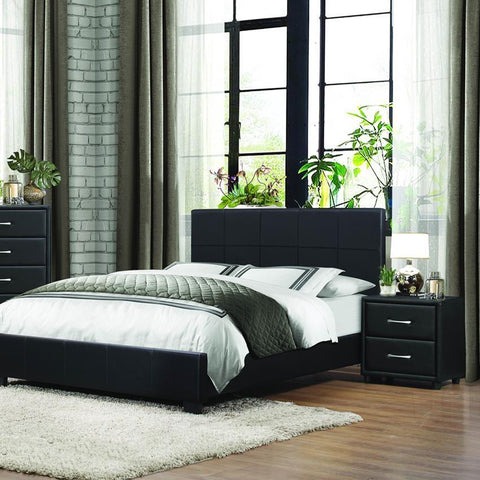 Homelegance Lorenzi 2 Piece Upholstered Platform Bedroom Set in Black Vinyl