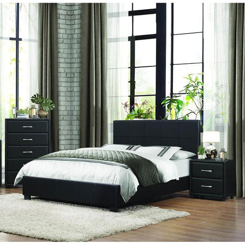 Homelegance Lorenzi 3 Piece Upholstered Platform Bedroom Set in Black Vinyl