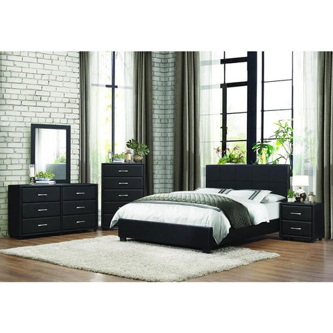 Homelegance Lorenzi 4 Piece Upholstered Platform Bedroom Set in Black Vinyl