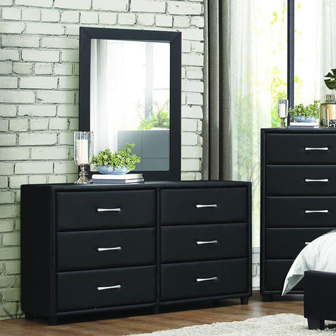 Homelegance Lorenzi 6 Drawer Dresser in Black Vinyl