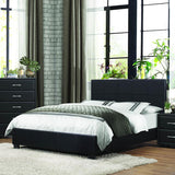 Homelegance Lorenzi Upholstered Platform Bed in Black Vinyl