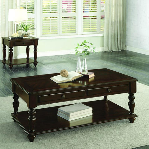 Homelegance Lovington Cocktail Table w/Lift Top on Casters in Espresso