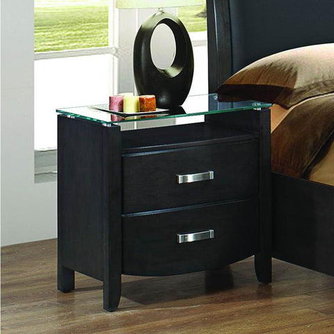 Homelegance Lyric 2 Drawer Nightstand w/ Glass Top in Brownish Grey
