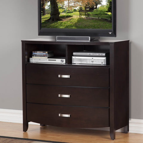 Homelegance Lyric 3 Drawer TV Chest in Dark Espresso