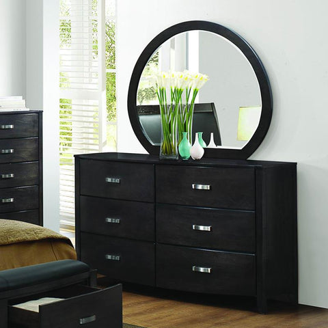 Homelegance Lyric 6 Drawer Dresser & Mirror in Brownish Grey