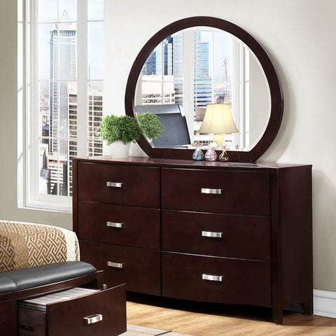 Homelegance Lyric 6 Drawer Dresser w/ Mirror in Dark Espresso