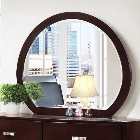 Homelegance Lyric Oval Mirror in Dark Espresso