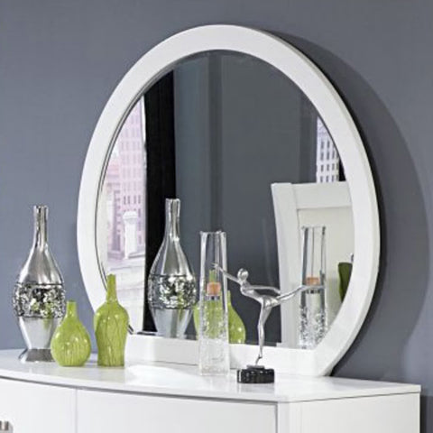 Homelegance Lyric Oval Mirror in White