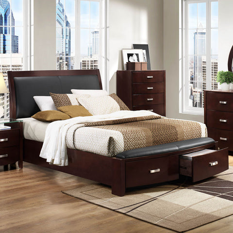 Homelegance Lyric Platform Bed w/ Storage Footboard in Dark Espresso