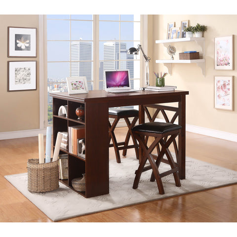 Homelegance Mably 3 Piece Counter Height Table Set in Warm Brown Cherry