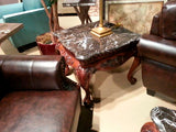 Homelegance Mariacarla End Table In Marble Top Dark Cherry