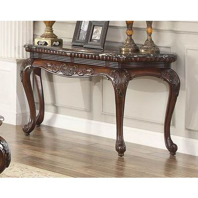 Homelegance Mariacarla Sofa Table In Marble Top Dark Cherry